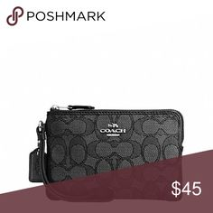 "CORNER ZIP WRISTLET IN OUTLINE SIGNATURE CORNER ZIP WRISTLET IN OUTLINE SIGNATURE STYLE NO. F58033   DETAILS Outline signature canvas Inside multifunction pocket Zip closure, fabric lining Wrist strap attached 6 1/4"" (L) x 4"" (H) COLOR: SILVER/BLACK SMOKE/BLACK Coach Bags Clutches & Wristlets"