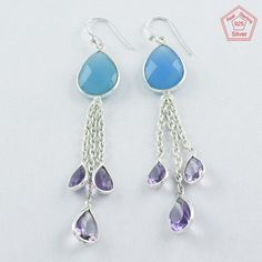 Christmas Gift !! 925 Sterling Silver Chalcedony & Amethyst Drop Earrings #SilvexImagesIndiaPvtLtd #DropDangle