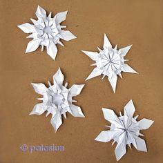 Origami Snowflake by Riccardo Foschi Snowflake Origami, Origami Star Box, Origami Love, Origami Fish, Christmas Origami, Origami Design, Origami Stars, Origami Flowers, Origami Quilt