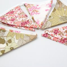 Floral Bunting Flags Pink & Olive Green Summer Tea Party by amooma, £16.50