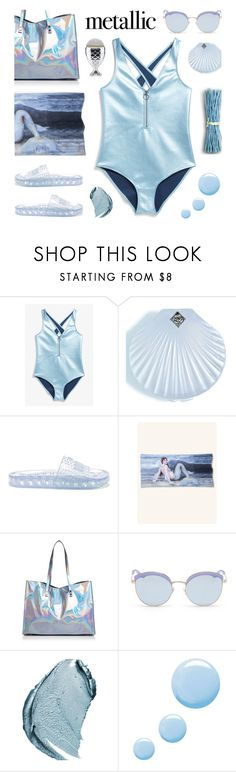 """Metallic mermaid style"" by deepwinter ❤ liked on Polyvore featuring Monki, Rosehound, Puma, Nasty Gal, Stephane + Christian, Christian Dior, Topshop, mermaid and metallicswimwear"