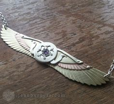 Winged Disk Pendant with Snakes holding Seed of Life with Amethyst - Egyptian - Handcrafted Sacred Geometry