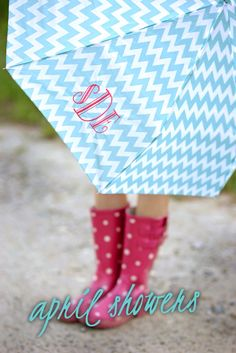 Libby & Dot Collections: Boutique Clothing and Monograms - April Showers Monogram Box with Monogrammed Umbrella in aqua chevron LOVE!