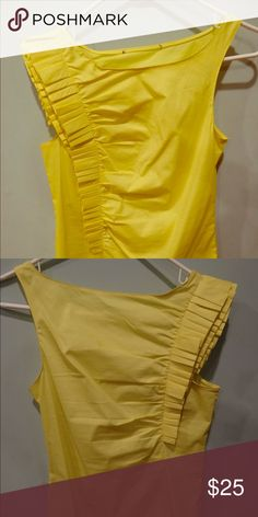Summer yellow pleated top. Yellow top with pleat detail on one side.  Matching short skirt available. Tops Tank Tops