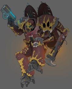 Chaos Raptor by MistyMiasma on DeviantArt Warhammer 40k Art, Warhammer 40k Miniatures, Warhammer Models, Character Concept, Concept Art, Character Design, Chaos Legion, Chaos Magic, Masks Art