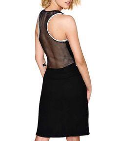 Net Splice Backless Tank Dress