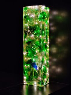 Resin Lamp - Sea glass and resin light sculpture - coloured sea glass Light In, Lamp Light, Night Light, The Block, Bangor, Wood Resin, Resin Art, Leaf Structure, Flower Lamp