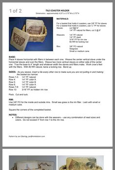 Basket Weaving Patterns, Kids Market, Making Baskets, Wood Basket, Coaster Holder, Tile Coasters, General Crafts, Hand Weaving, Woven Baskets