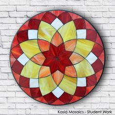 Student Work by Jeff created in a Kasia Mosaics Stained Glass Mosaic Flower Mandala Workshop. Sign up for an Online Class, an All Level Studio Class or purchase project kits via www.kasiamosaics.com