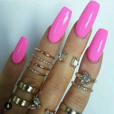 Beautiful Pink long acrylic nails