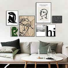 """""""Matisse Prints Modular Pictures Wall Art Poster Vintage Abstract Line Figure Minimalist Europe Canvas Painting Nordic Home Decor"""" Abstract Canvas, Canvas Art Prints, Canvas Wall Art, Wall Art Prints, Wall Collage, Living Room Pictures, Wall Art Pictures, Matisse Prints, Matisse Art"""