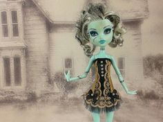 Monster High doll gothic burlesque gold beige and by JonnaJonzon