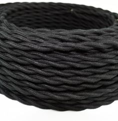 BLACK COTTON CLOTH-COVERED TWISTED ELECTRICAL WIRE - 18 GAUGE - BULK ROLL 25ft, $29.95