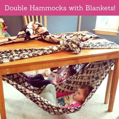 Under the Table Double Hammock made with Blankets!