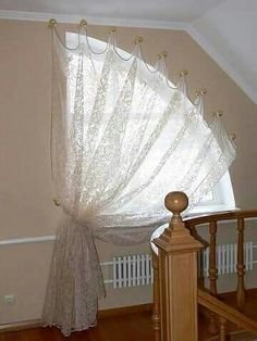 curtains for in the attic floor / Curtains For Arched Windows, Curtains And Draperies, Home Curtains, Valances, Arched Window Treatments, Window Coverings, Curtain Styles, Curtain Designs, Rideaux Design