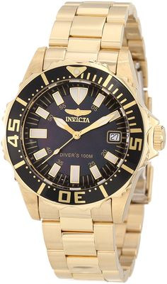 Invicta Women's 10626 Pro Diver Black Mother-Of-Pearl Dial 18k Gold Plated Watch ** Read more  at the image link.