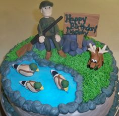 Hunting cake, except I need the hunter leaned back in a chair sleeping with his mouth open. Haha Perfect for my hubby.