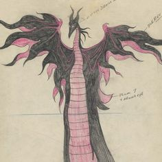 """A drawing of Maleficent's transformation, created by Dan McManus, and the climactic scene from the finished film. 