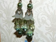 Frosted Green Lucite Flower Earrings Vintage Retro Jewelry #Handmade #DropDangle