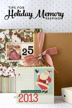 Creative ideas for Holiday memory keeping and a DIY for a Christmas mini scrapbook. Ideas for how to make a photo album of Christmas