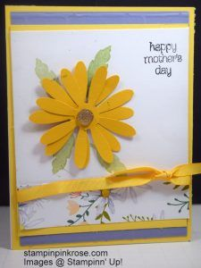 Stampin' Up! Mother's Day card made with Daisy Delight stamp set and designed by Demo Pamela Sadler. This daisy such a beautiful card and easy with the Daisy Punch. They are colored with the Blends. See more cards at stampinkrose.com and etsycardstrulyheart