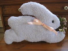 Handmade Vintage Baby Blue Chenille Fabric Easter Bunny
