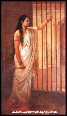 Raja Ravi Varma Painting of Imprisoned lady holding a dagger