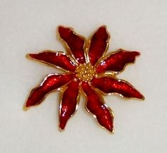 1263~Vintage Gold Tone Red Guilloche Enamel Figural Poinsettia Flower Brooch Pin
