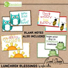 Free lunchbox note printables!