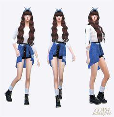 tied shirts-skirt_묶은 셔츠 스커트_여성 의상