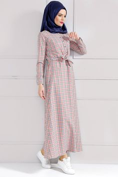 Refka Kareli Turuncu Elbise