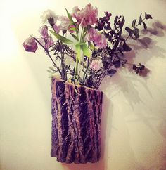Rustic bark wall planter for plants, cut or dried flowers, valentine's gift for her