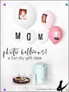 I Love Balloon Decorations These Easy Diy Photo Balloons Are A Great Idea For Baby Showers And Even Mother's Day Dress Up Any Party With This Cute Personalized Display Diy Craft Projects, Diy Crafts, Craft Ideas, Mothers Day Dresses, Photo Balloons, Love Balloon, Do It Yourself Projects, Diy Photo, Balloon Decorations
