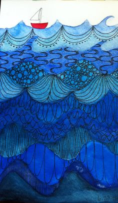 Little Red Boat - Zentangle under the sea. I love the doodling on the waves and the different shades of blue.