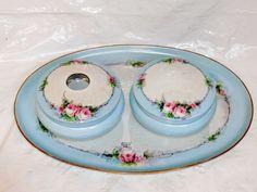 Antique 1890's Victorian MZ Moritz Zdekauer Austria Porcelain Vanity Dresser Set Blue Perfume, Perfume Bottles, Dresser Sets, Panna Cotta, Porcelain, Vanity, Austria, Antiques, Cake