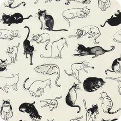 Indochine | Nora Neko Tea Black - A COOL cat fabric at Lark Fabrics.  Lots of beautiful stuff there......