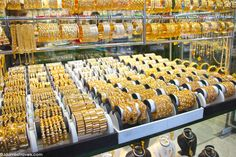 The Deira Gold Souk should be on every Dubai travelers& lists of places to visit. Here are our tips for bartering if you plan to purchase gold at the souk. Arabic Jewelry, Gold Jewellery, Gold Souk, Gold Money, Gold Jewelry Simple, Dubai Travel, Shop Interiors, Dubai Uae, Abu Dhabi