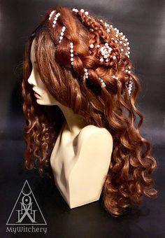 Renaissance wig - ginger wig -  fantasy wig - Renaissance styled wig - princess wig - medieval wig - historical wig - brown wig