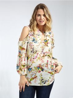 444079a692d79 Lovedrobe GB Floral and Bird Print Cold Shoulder Ruffle Blouse - Plus Size  Girl Trends