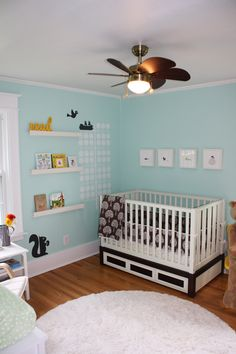 Love this color for a gender-neutral nursery & for our guest bathroom (Benjamin Moore - Robin's Nest #618)