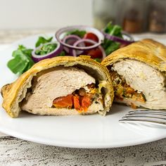 Chicken breast stuffed with sun dried tomatoes, basil and mozzarella, wrapped in puff pastry.