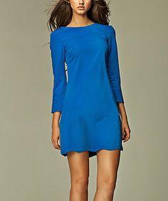 Look at this #zulilyfind! Blue Scalloped Crew Neck Dress by NIFE #zulilyfinds