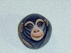 Chimpanzee pregnant monkey chimp miniature dish garden lagoon miniature jungle zoo animal hand painted rocks by RockArtiste, $25.00