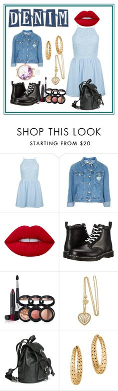 """""""In Love With Denim"""" by graceellanicole on Polyvore featuring New Look, Topshop, Lime Crime, Dr. Martens, Laura Geller, John Hardy and Lipsy"""