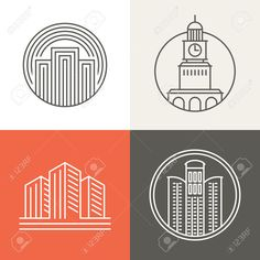 35170759-Vector-buildings-and-houses-logos-and-signs-design-elements-in-trendy-mono-line-style-Stock-Vector.jpg (1300×1300)
