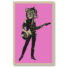 60s style Cheetah cat girl Guitar Player girl rock band 11x17 silkscreen Art Print Poster screenprinted by hand. Great for musicians.