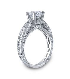VIEWING CHARGE - Kirk Kara Hand Engraved Stella Engagement Ring in Platinum Featuring 0.05 Carats Round Diamonds.