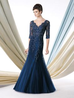 Ivonne D by Mon Cheri 213D23 Style Number:213D23 Ivonne D Exclusively for Mon Cheri Illusion trumpet gown with ornate hand-beaded lace ac...