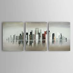 Hand-painted Abstract Oil Painting with Stretched Frame - Set of 3 – USD $ 119.99