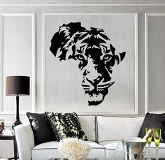Vinyl Decal Tiger Animal Africa Map Kids Room Wall Stickers Decor Mural Unique Gift in X 33 in / Black - Africa Kids Room Wall Stickers, Vinyl Wall Stickers, Art Mural Africain, African Wall Art, Afrique Art, Decoration Stickers, Pet Tiger, Africa Map, Pics Art